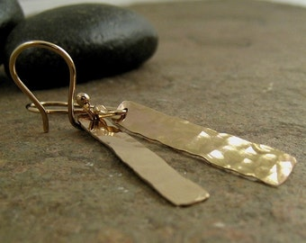 Solid Gold Earrings Yellow Gold Hammered Bar Earrings 14k Gold Bar Earrings 14ct Gold Minimal Earrings, Hammered Gold Earrings