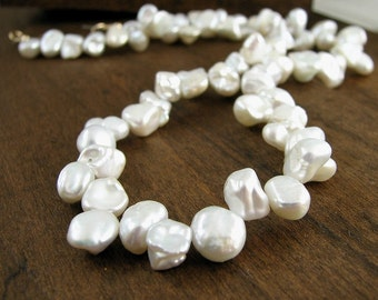 Freshwater Pearl Necklace. White Baroque Keishi Nugget Pearls Gold Pearl Jewelry, Wedding Bridal Jewelry