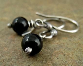 Small Black Onyx Earrings Silver Dangle Earrings Black Stone Earings Oxidized Sterling Silver Organikx