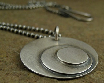 Sterling Silver Disc Necklace Modernist Modern Geometric Circles Jewelry Oxidized Silver Abstract Large Circles Necklace