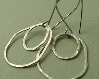 Large Hammered Circle Earrings, Sterling Silver Earrings, Silver Double Hoop Earrings, Hammered Earrings, Gift Under 50
