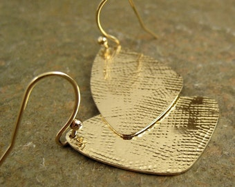 Linen Texture Hammered Gold Earrings Triangle Gold Dangle Earrings, Gold Earings,14k/20 Gold Filled Earrings