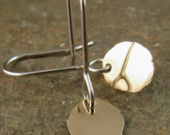 Contemporary 14k Gold & Silver Earrings, Silver and Gold Earrings, Handmade Metalsmith Solid Gold 14kt Yellow Gold Recycled Mixed Metal