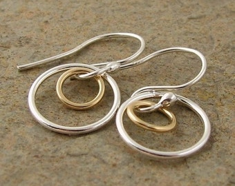 Small Silver Earrings, Silver & Gold Earrings, Sterling Earrings, Mixed Metal Earrings, Silver Circle Earrings