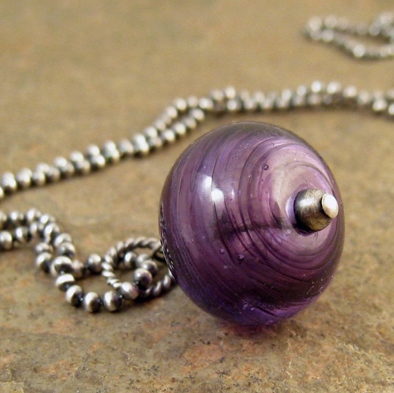 Handmade lampwork necklace oxidized sterling silver. Silver necklace, purple glass bead necklace. Sale