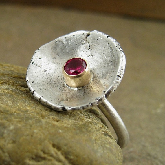 Pink Ruby Ring, Solid 14kt Gold & Sterling Silver Ring, Mixed Metal Ring, Silver and Gold Modern Ruby, Statement Ring