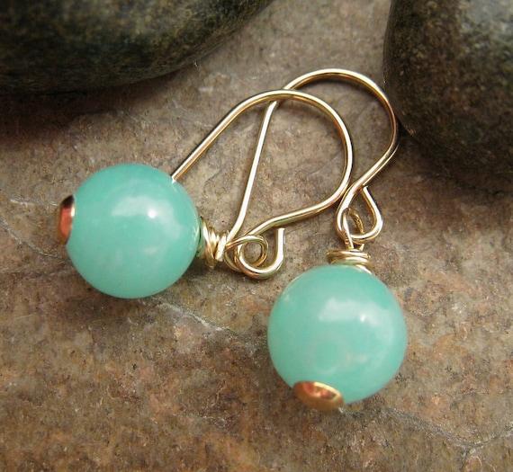 Blue Hemimorphite Earrings, Gold Earrings, Seafoam Blue Green Earrings, Beach Jewelry, Beach Earrings, Cruise Jewelry