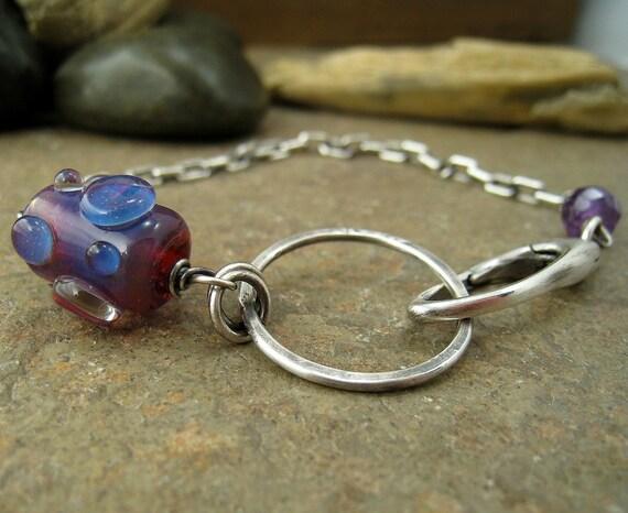 Lampwork bracelet amethyst sterling silver. Handmade glass bead jewelry
