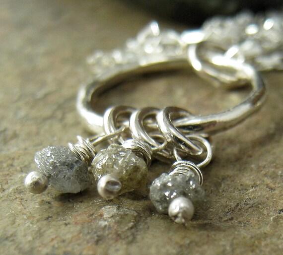 Platinum Diamond Necklace Rough Diamond, Raw Crystal Druzy, Sterling Silver. Grey Diamond Fashion