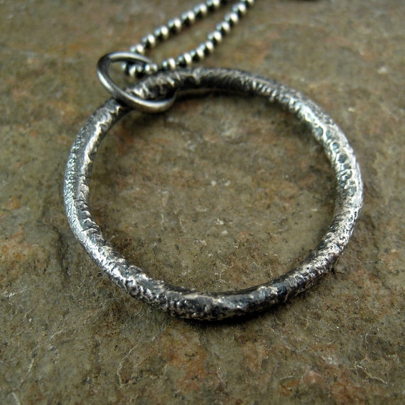 Mens Necklace Sterling Silver Circle Pendant Necklace for Men, Silver Eternity Necklace for Men, Men's Silver Circle Necklace