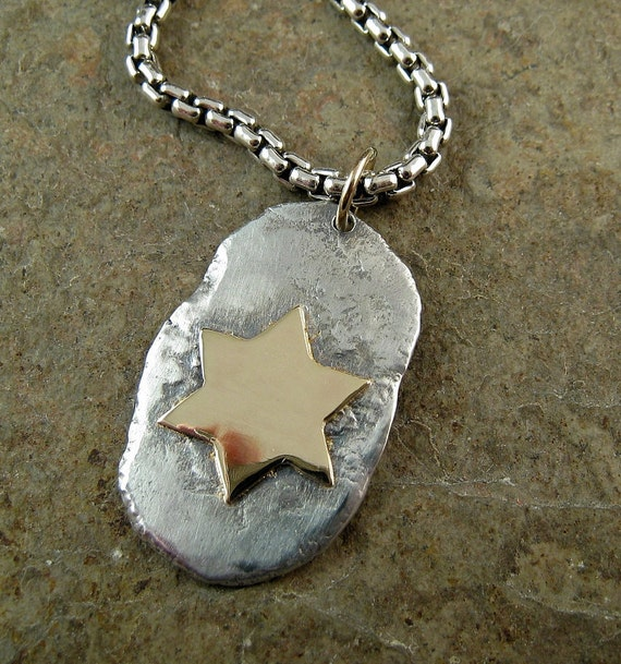 Star of David Necklace Mens Pendant Recycled Sterling Silver & Gold Dog Tag Necklace For Men Magen David, Solid 14k Gold Mixed Metal