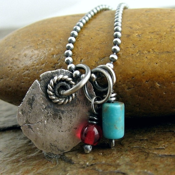 Sleeping Beauty turquoise necklace, sterling silver rustic turquoise jewelry Oxidized silver necklace. Southwestern silver jewelry