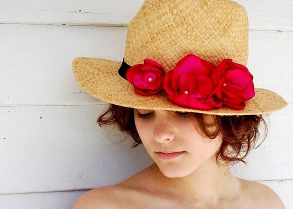 Straw Fedora Hat Beach Hat Sun Hat Pink Flowers-Designer Hat by LunatiqueArt on Etsy