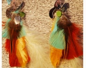 SUPER SQUIRREL Yellow Scorcesi Feather Earrings Set
