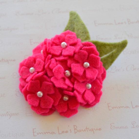 Hot Pink Felt Flower Bouquet Clip