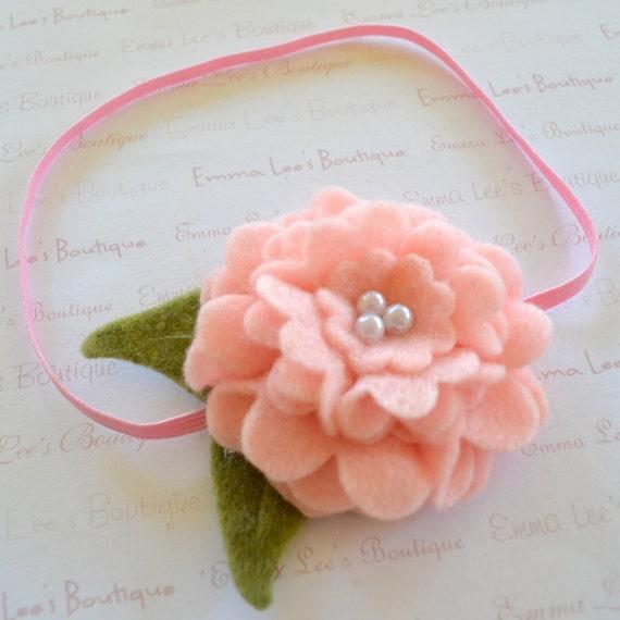 Pale Pink Layered Felt Flower Elastic Headband