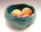 Carved Serving Bowl/Serving Bowl/Pottery Bowl/ Pottery Serving Bowl