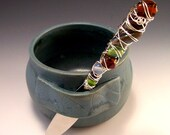 Pottery Dip Cup with Jeweled Spreader in Smoky Slate Blue