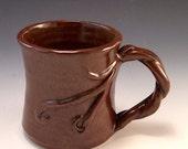 Handmade Pottery Tree Vine Mug in Warm Earth Brown