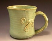 Handmade Pottery Tree Vine Mug/Tree Vine Cup in French Country Green