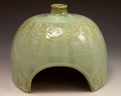 Hand Made Pottery Toad House in French Country Green
