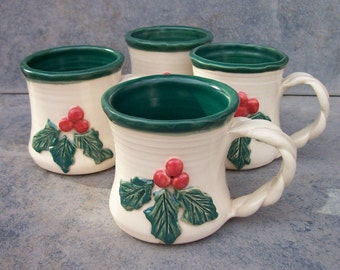 ON SALE NOW  Holly Berry Christmas Mugs--Set of Four