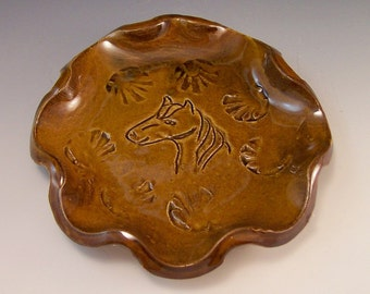 Horse Head  Spoon Rest/Soap Dish/ Change Collector in Warm Amber Brown