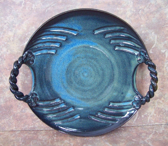ON SALE NOW-- Pottery Cheese Platter in Garden Earth Blue