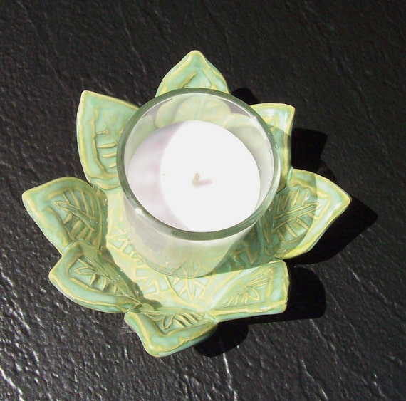 Candle Holder in French Country Green