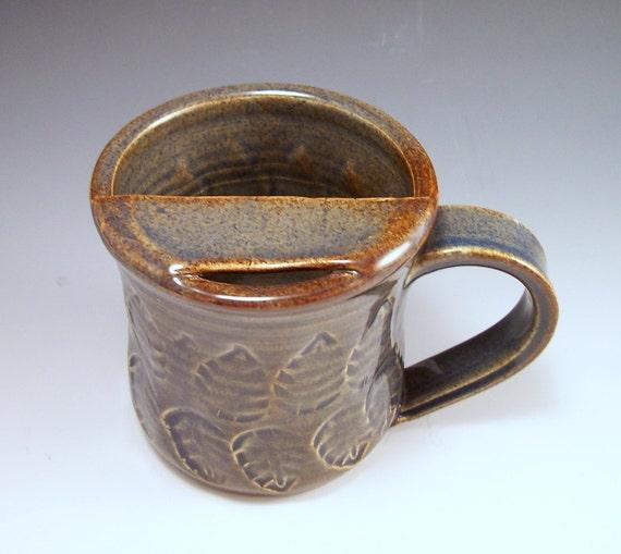 Mustache Mug in Smoky  Blue Brown