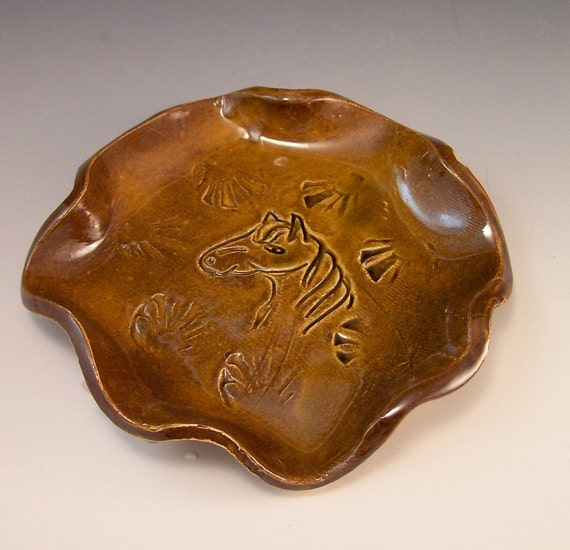 Horse Head  Pottery Spoon Rest or Soap Dish in Warm Amber Brown