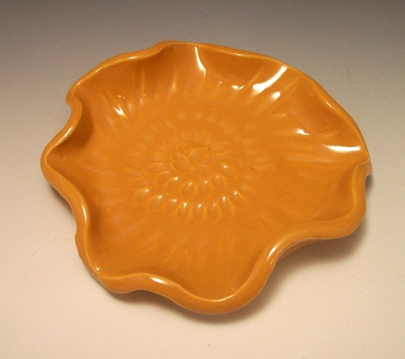 Spoon Rest Yellow Ruffled Pottery/candle tray/change holder etc