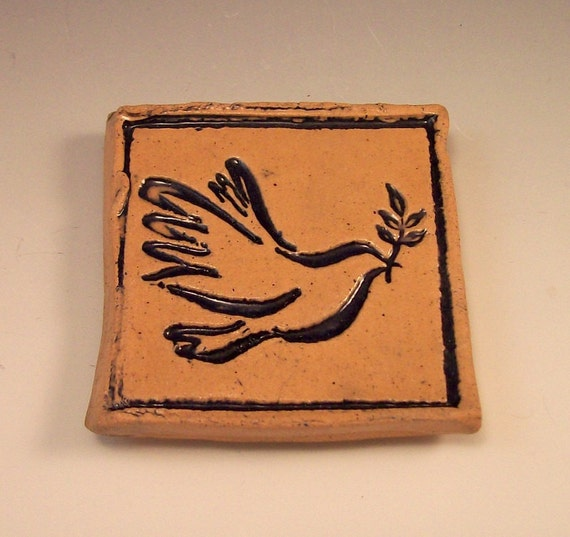 Peace Dove Pottery Magnet