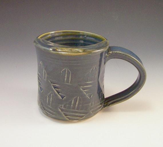 Handmade Pottery Mustache Mug in Smoky Blue