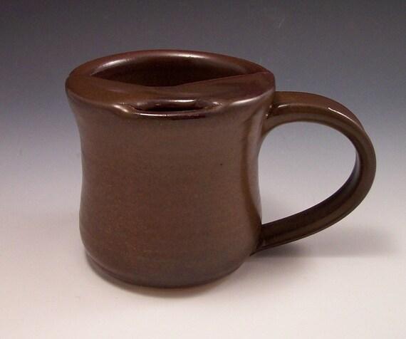 Handmade Pottery Mustache Mug in Iron Red