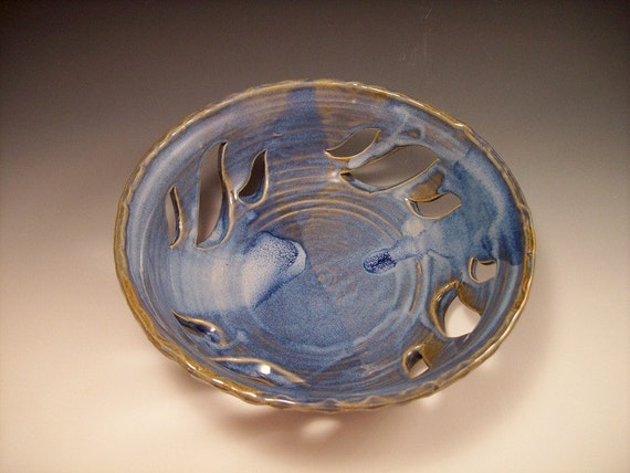 Hand Made Pottery Carved Fruit Bowl in Swirly Blue Glaze