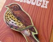 vintage wooden jigsaw brooch