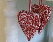 set of 3 deep crimson and string hearts