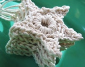 set of 5 natural cotton twine string stars