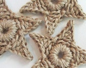 set of 3 large primitive jute star ornaments