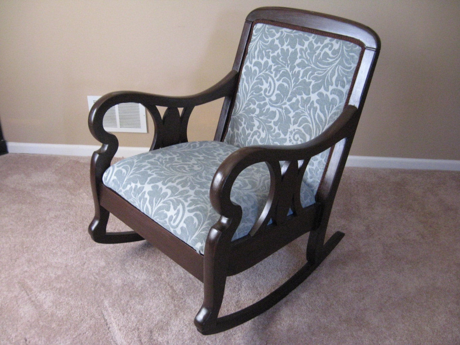 blue upholstered walnu rocking chair by ddsrestoredfurniture. Black Bedroom Furniture Sets. Home Design Ideas
