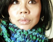 Upcycled Recycled Blue Green T Shirt Scarf
