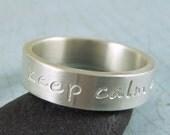 Custom inscription sterling silver ring with handscript font