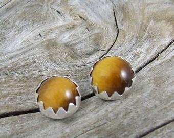 Tiger eye stud earrings, Tiger eye post earrings, Tiger eye jewelry, Tiger eye earrings, 6mm, tiger eye gemstones, gem earring, eye earrings