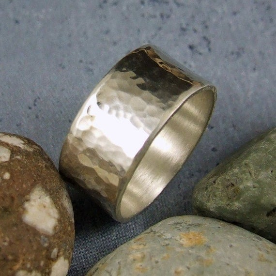 Wide hammered silver ring with custom inscription - Reflections