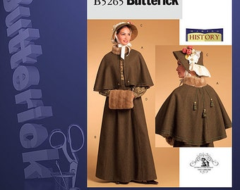 Butterick 5265-Victorian Cape, Caplet, Muff, Bonnet,Skirt-Plus Size