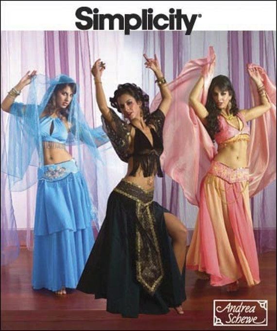 Diy Sewing Pattern-Simplicity 2941-Belly Dance Costume-Circle Skirt pattern-Belly Dance Belt Pattern