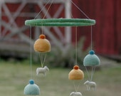 Quartet of Parachuting Sheep - Needle Felted Mobile for the Nursery