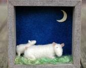 Nighttime Mama Sheep and Lamb - Needle Felted Shadow Box Scene