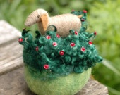 Goat in the Roses- Needle Felted Pin Cushion